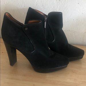Calvin Klein Black Suede Heeled Ankle Booties